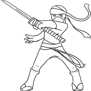 Kid Drawing of a Ninja Coloring Page