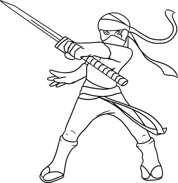 kid drawing of a ninja coloring page