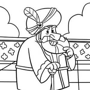 king of persia ahasuerus in purim coloring page
