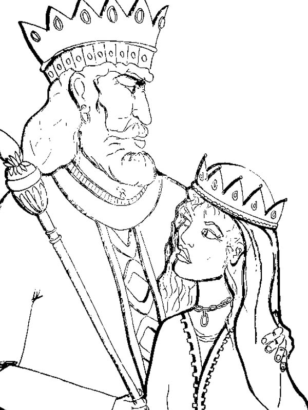 king of persia and queen esther in purim coloring page
