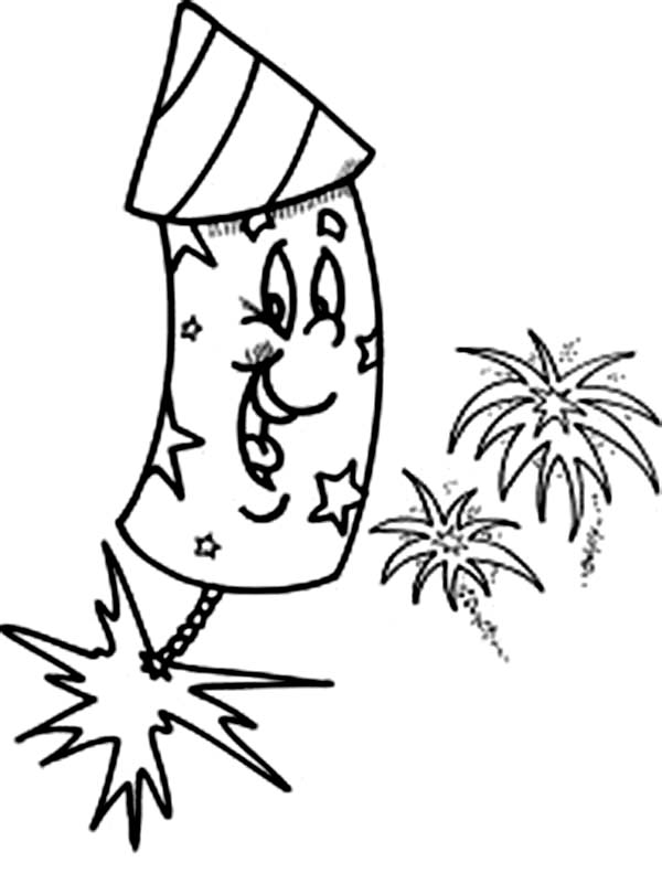Laughing Fireworks Coloring Page