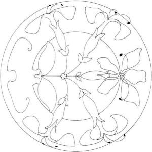 Lilies Ornament Mandala Mosaic Coloring Page