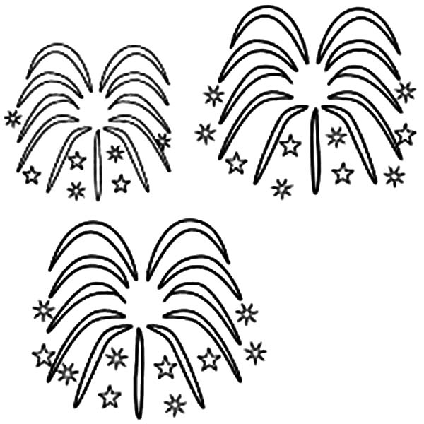Luminous Sky with Fireworks Coloring Page Download Print