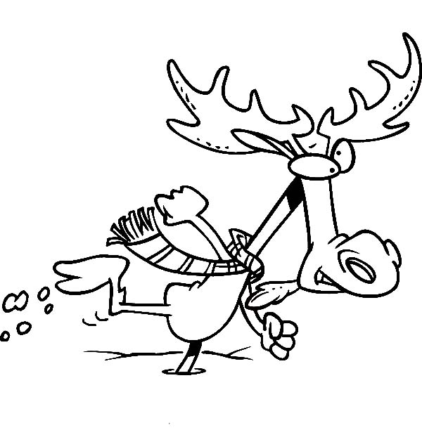 Moose Running in Winter Time Coloring Page Download Print
