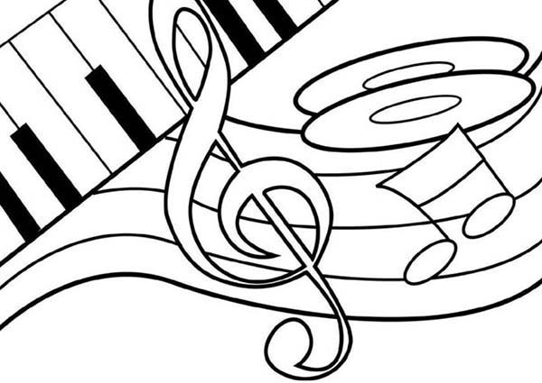Music Notes on Piano Coloring Page Download Print Online