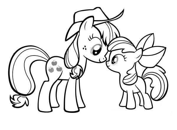 My Little Pony Applejack and Apple Bloom Coloring Page Download