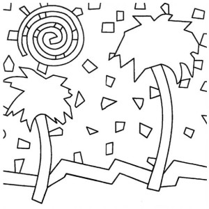 Palm Tree Mosaic Coloring Page