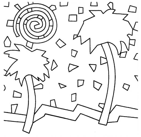 palm tree mosaic coloring page - Palm Tree Coloring Pages Print