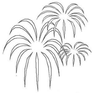 Palm Tree Shaped Fireworks Coloring Page