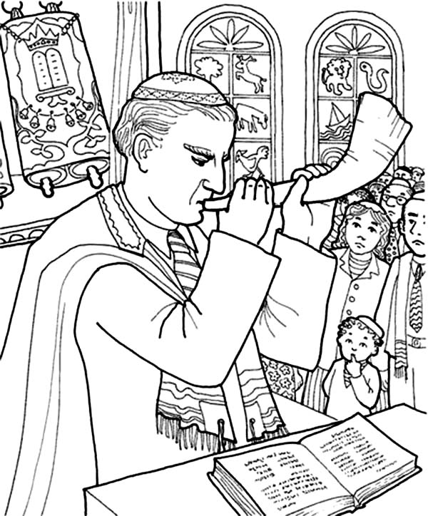 People Listening Rabi Blowing Shofar in Rosh Hashanah Coloring Page