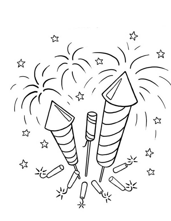 Fireworks, : Picture Of Firecrackers And Fireworks Coloring Page