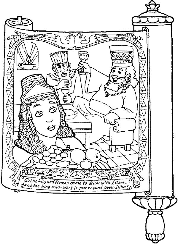 picture of purim in scroll coloring page