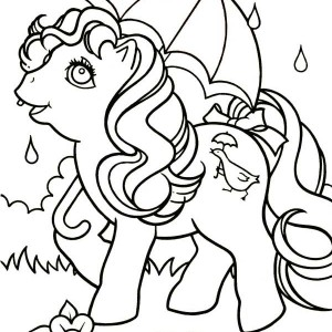Pinkie Pie Using Umbrella in the Rain in My Little Pony Coloring Page
