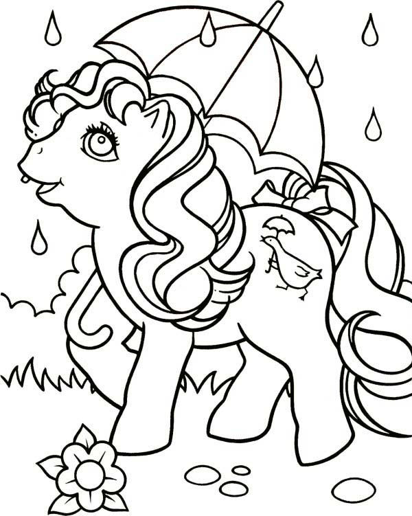 Pinkie Pie Using Umbrella in the Rain in My Little Pony Coloring ...