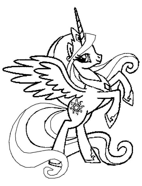 Pony Princess Celestia Rearing In My Little Coloring Page