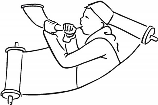 rabi blowing shofar in rosh hashanah scroll coloring page