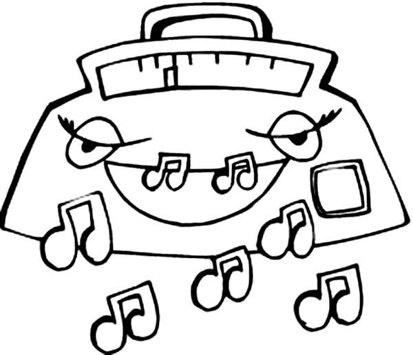 Radio Expelling Music Notes Coloring Page