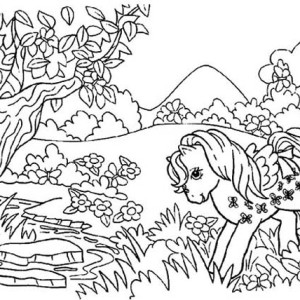 Rarity Playing in the Forest in My Little Pony Coloring Page