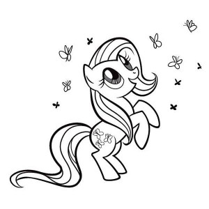 Rarity Playing with so Many Butterfly in My Little Pony Coloring Page