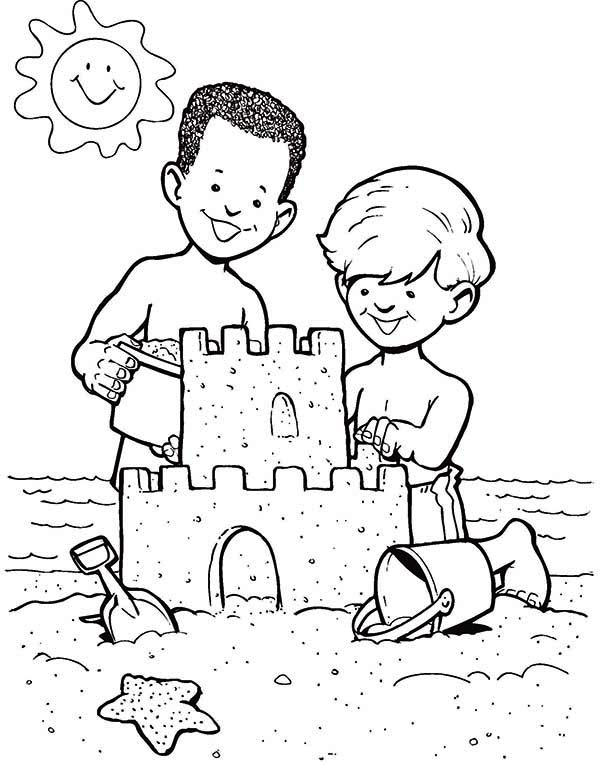 print sand castle create by two boys coloring page in full size