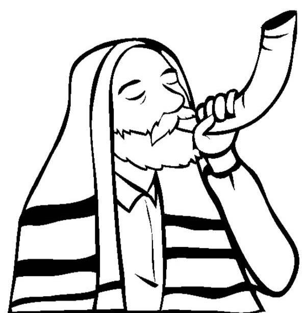 Shofar Sound on Rosh Hashanah Coloring Page Download Print