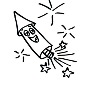 Smiling Fireworks Rocket Coloring Page