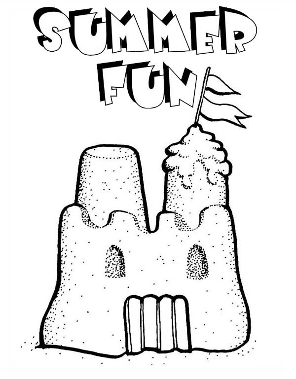 Summer Fun Play Sand Castle Coloring Page - Download & Print Online ...