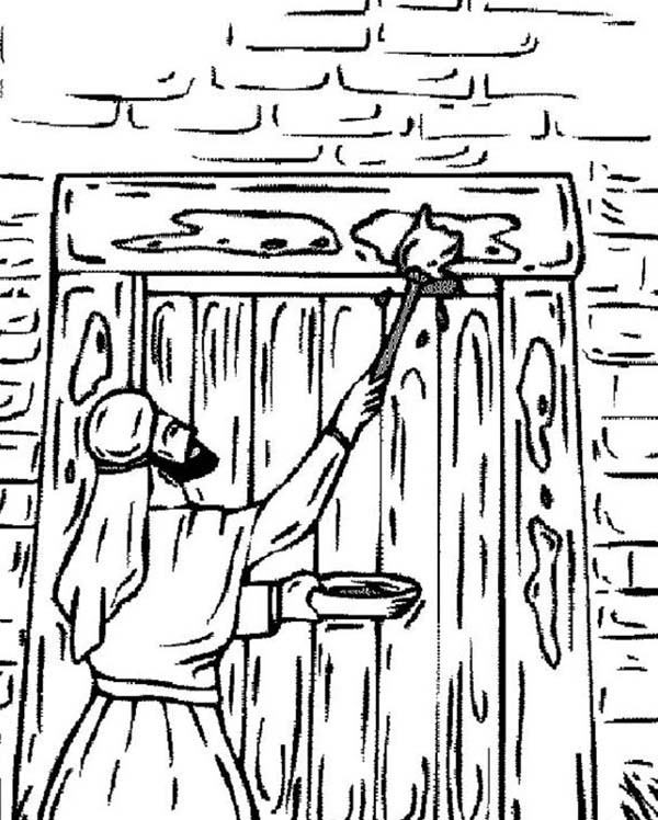 The Israelites Marking Their Door on Passover Coloring Page ...