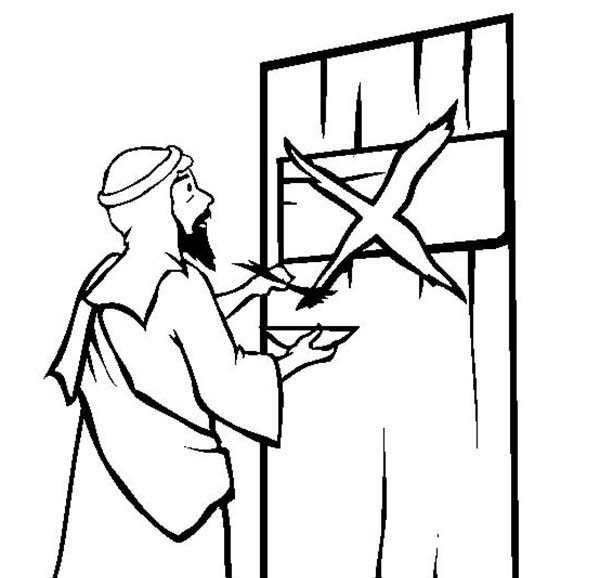 Passover, The Story of Passover by Marking the Israelites Door Coloring Page: The Story Of Passover By Marking The Israelites Door Coloring PageFull Size Image