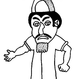 The Villain Haman in Purim Coloring Page