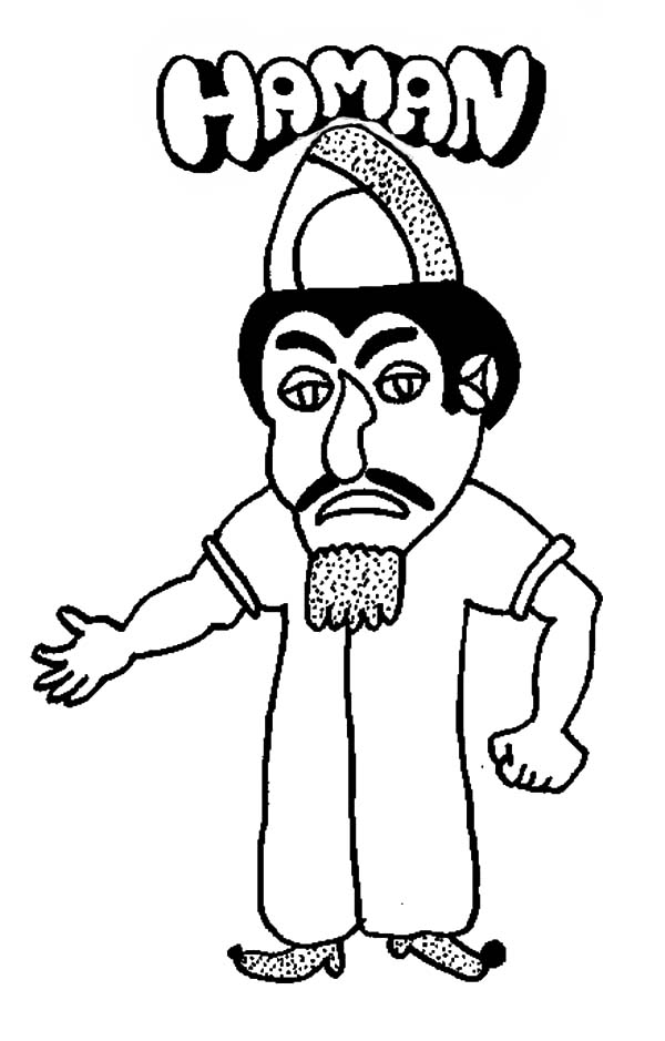 purim the villain haman in purim coloring page