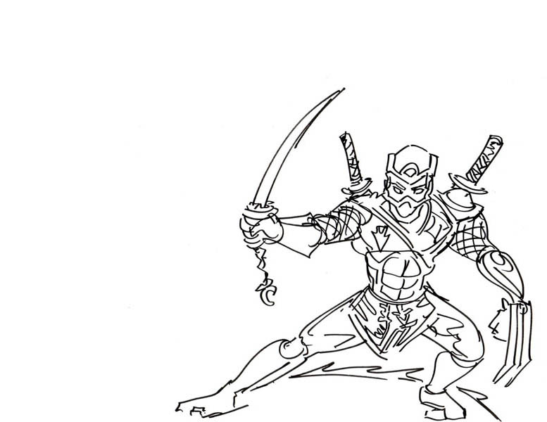 tree sword ninja coloring page