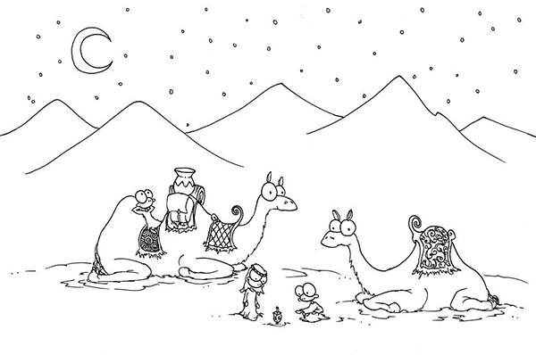 camel two camel in the desert coloring page