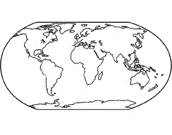 Asia Continent in World Map Coloring Page Asia Continent in World