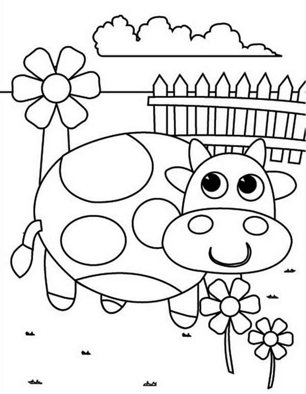 A Cow And Flower On Springtime Coloring Page