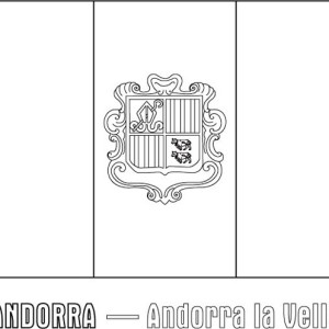 Andorra Nation Flag Coloring Page