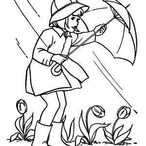 april shower before springtime coloring page