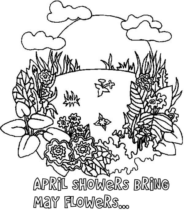 April Shower Bring May Flower on Springtime Coloring Page ...