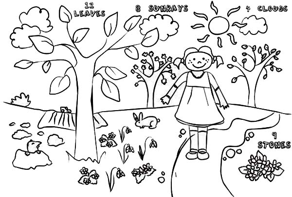 Kids Drawing Of Springtime Coloring Page