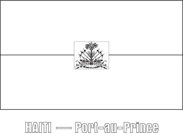Nation Flag of Haiti Coloring Page Nation Flag of Haiti