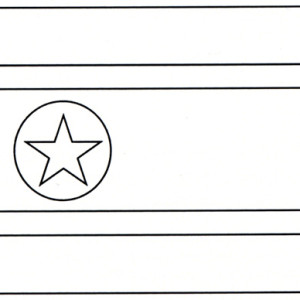 North Korea Nation Flag Coloring Page