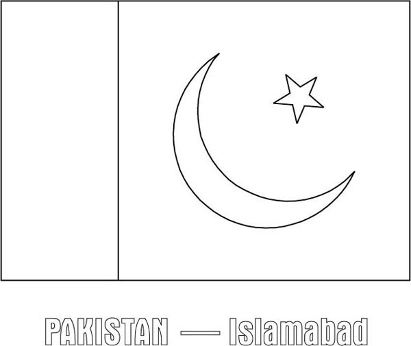 Pakistan Nation Flag Coloring Page