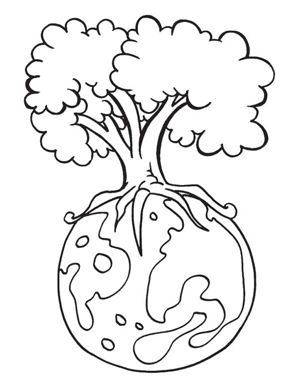 Earth Day Save Our Forest On Coloring Page