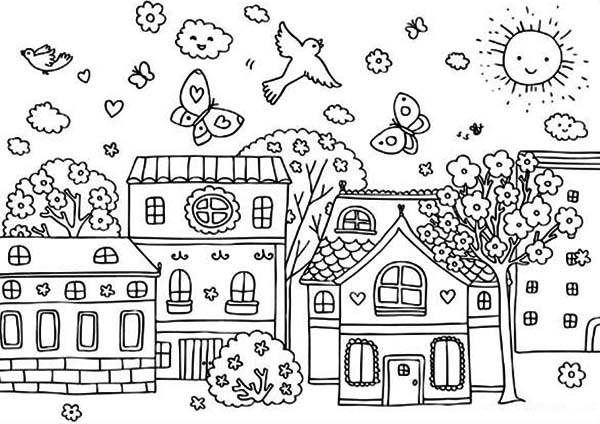 Springtime coloring page for kids