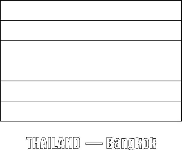 Thailand Nation Flag Coloring Page Download Print Online