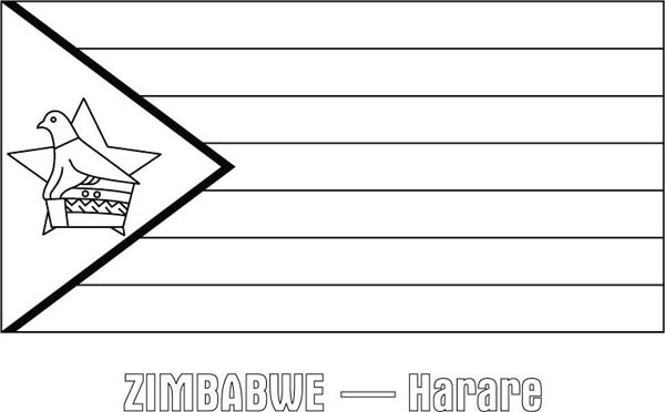 zimbabwe nation flag coloring page