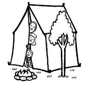 A Family at Summer Camp Coloring Page