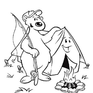 Telling Story Summer Camp Campfire Coloring Page Telling Story