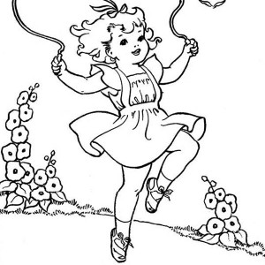 A Girl Playing Rope on Summertime Holiday Coloring Page