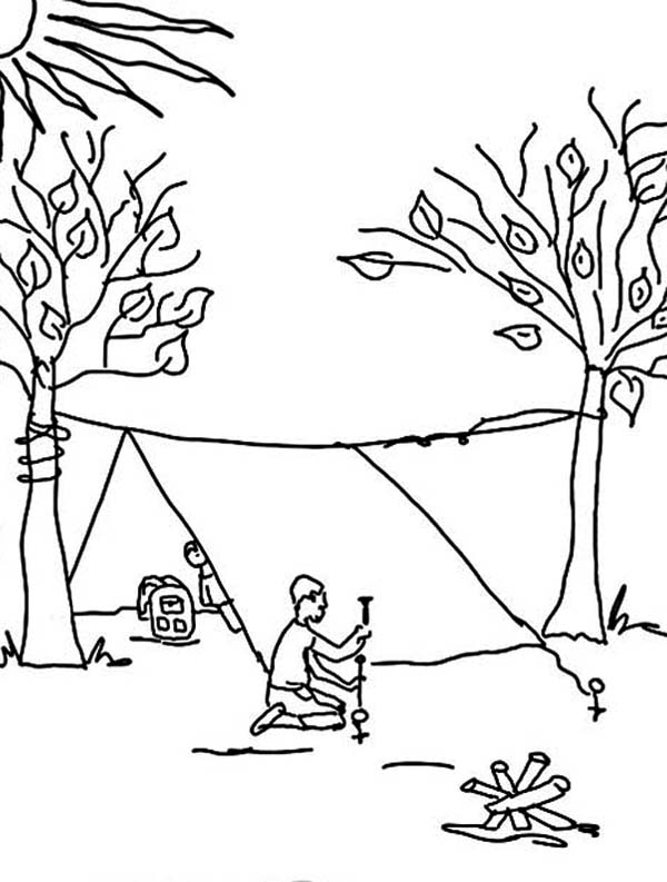 Build Tent For Summer Camp Coloring Page Build Tent For
